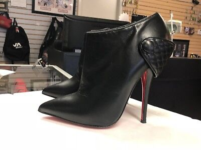 brand new 9609e 162d2 CHRISTIAN LOUBOUTIN HUGUETTE Black Leather Ankle Boots Booties (Size 35.5)