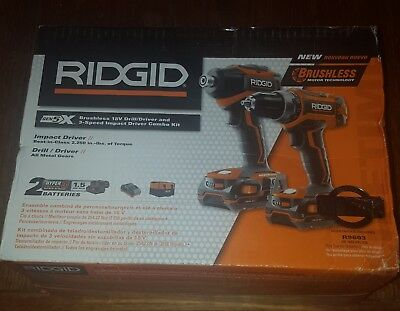 Ridgid R9603 Brushless 18V Drill/Driver and 3-speed Impact Driver Combo Kit NEW!
