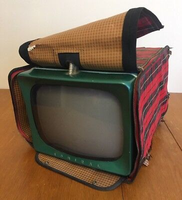 Vintage Admiral TV Television Mid-Century Tabletop w/ Case Green