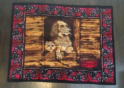 Rare Antique CHASE Horsehair Carriage Robe Blanket DOG Glass Eyes