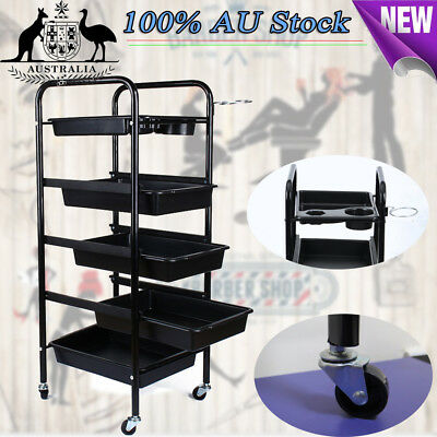 5 Tier Spa Hairdresser Coloring Hair Black Salon Trolley Rolling Storage Cart