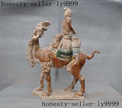 Chinese Ancient Porcelain Pottery Tang Dynasty Sancai people camel riding statue