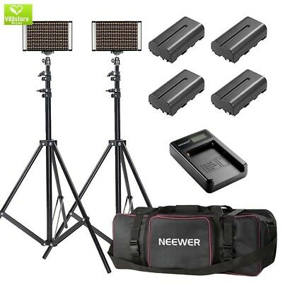 Neewer 2-Pack Bi-color Dimmable 280 LED Video Light and Stand Lighting Kit with