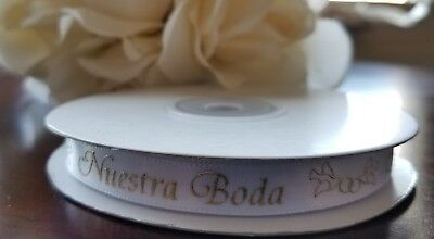 "7//8/""25Yds White Gold Metallic Favor///""Mis 15 Años""//Sweet15 Satin Ribbon With Wor"