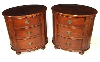 PAIR Antique Style Oval Elm Bedside Cabinets Chests / Lamp Stands
