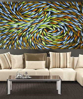 huge Art Painting aboriginal inspired Seascape  River fishing by Jane Crawford