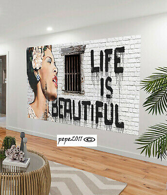 Huge street Art Painting banksy life is beautiful Abstract Canvas  original
