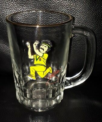 Rare Vintage Collectable Dennis Lillee Cricket Beer Glass Mug Used Condition