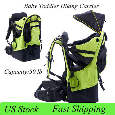 Baby toddler Hiking Carrier Backpack w/Raincover Child Kid Sun/canopy Shield Gre