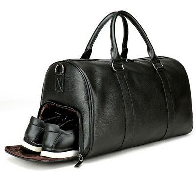 Mens Leather Gym Duffel Shoulder Bag Travel Overnight Luggage Large Soft Handbag