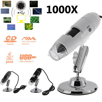 Digital 8 LED USB 1000X Zoom Microscope Magnifier Endoscope Camera w/ Stand Base