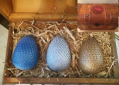 3 Dragon Eggs With Display Chest Game Of Thrones Fantasy Cosplay