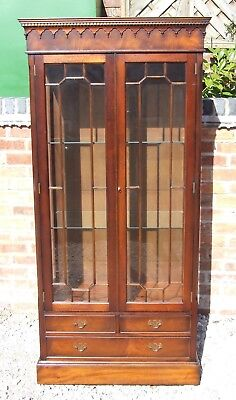 Antique Reprodux Style Mahogany Astragal Glazed Bookcase Display Cabinet