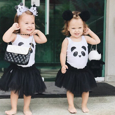 AU Toddler Kids Baby Girl Outfit Clothes Panda T-shirt+Tutu Skirt Dress 2PCS Set