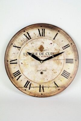 L'ECOLE DE CUISINE Wall Clock French Vintage style Distressed Cream and Brown