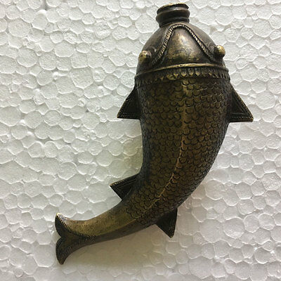 Early 18th C An old or antique solid brass powder flask mughal style fish shaped