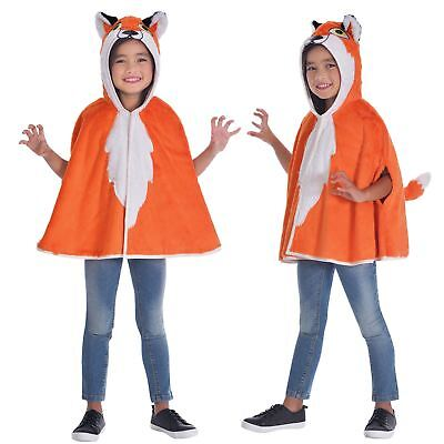 Kids Boys Girls Red Fox Hooded Cape Animal Wild Fancy Dress Hoody Coat Costume