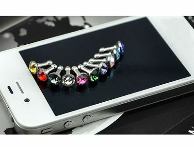 15Pc/Set 3.5mm Cell Phone Anti Dust Crystal Cap Earphone Jack Plug Stopper Cover