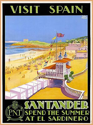 Visit Santander Spain El Sardinero Vintage Spanish Travel Advertisement Poster