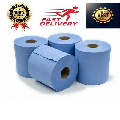 2 PLY Blue Rolls Pack of 1/2/6/12/18 Centrefeed Paper Wipe Hand Towel Tissue UK