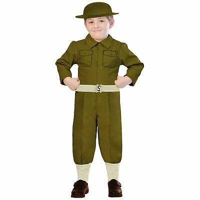 Kids Boys Wartime British Military Army Solider Fancy Dress Book Week Costume