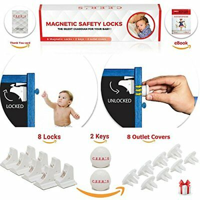 Magnetic Cabinet Locks Child Safety | 8 Baby Proof and 2 Keys for all Cabinets
