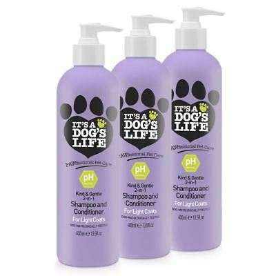 It's A Dog's Life 2 in 1 Shampoo and Conditioner for Light Coats 400ml 3 Pack