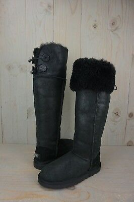 b8e4e0ff1e8 UGG OVER THE KNEE BAILEY BUTTON BLACK LEATHER WOMENS BOOTS US 5 new ...