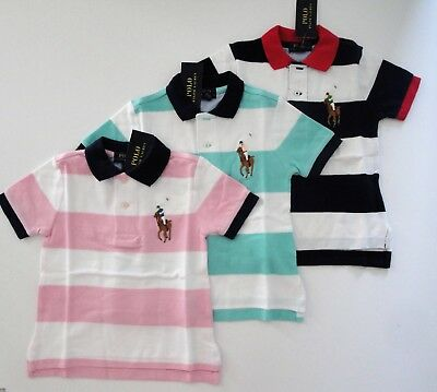 NWT Ralph Lauren Boys SS Big Pony Striped Mesh Polo Shirt Sz 2/2t 3/3t 4/4t NEW