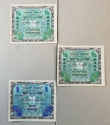 Vintage Deutschland Germany Ww2 Occupation Currency From 1944 51A