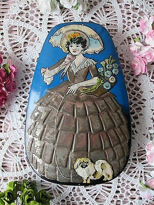 Antique Vtg 30s HORNERS *Dainty Dinah* Georgian Victorian Lady Floral Sweet Tin