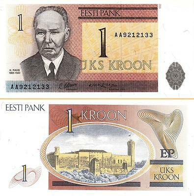 Estonia 1 Kroon 1992 Unc 2 Pcs Consecutive Pair P-69A Prefix -Aa-