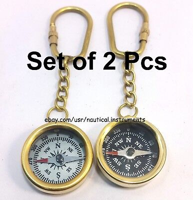 Set Of 2 Pcs Brass Black & White Dial Pocket Compass Key Chain Collectible Gift