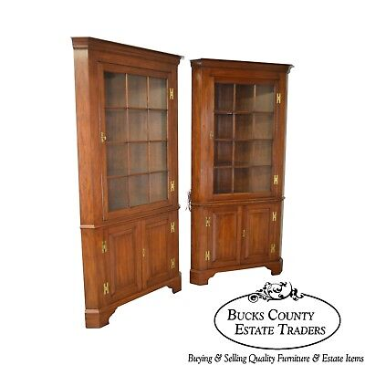 Henkel Harris Chippendale Style Pair of Solid Cherry 12 Pane Corner Cabinets