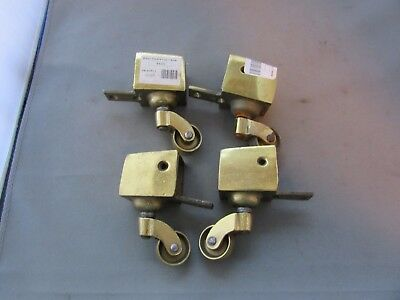 VTG Set of 4 Brass Bronze Feet Casters Horizontal Square Cup