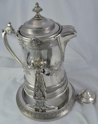 Large Antique Reed & Barton Silver Plate Tilting Water Pitcher c.1880
