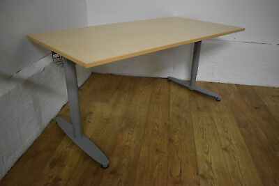 Kinnarps T-Series Sit Stand Height Adjustable Office Desk Maple 5 Available 1600