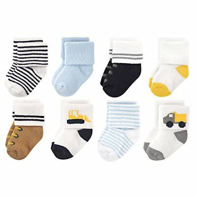 Luvable Friends Baby 8 Pack Newborn Socks Bulldozer 6-12 Months Unisex Clothing