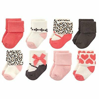 Luvable Friends Baby 8 Pack Newborn Socks Leopard 6-12 Months Unisex Clothing