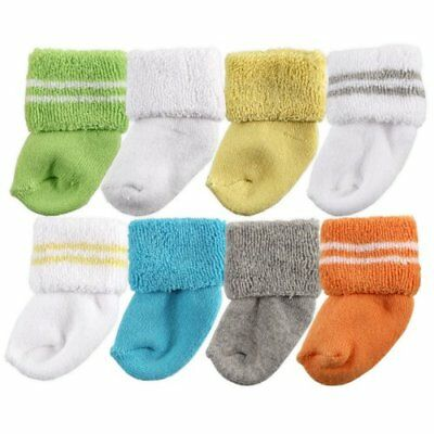 Luvable Friends Baby Infant 8 Pack Newborn Socks Yellow 6-12 Months Unisex Shoes