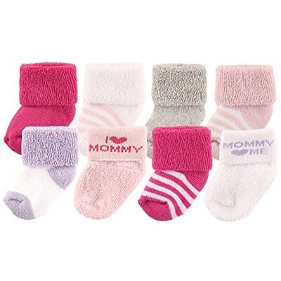 Luvable Friends Baby Infant 8 Pack Newborn Socks Pink/Mommy 6-12 Months Unisex