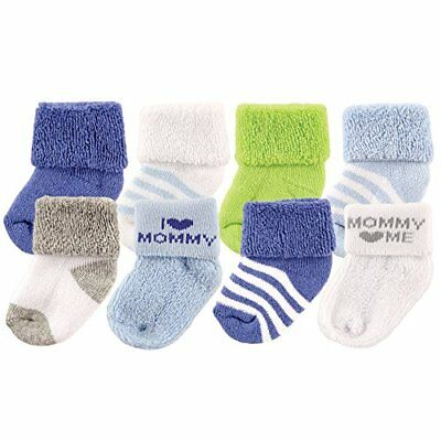 Luvable Friends Baby Infant 8 Pack Newborn Socks Blue/Mommy 6-12 Months Unisex