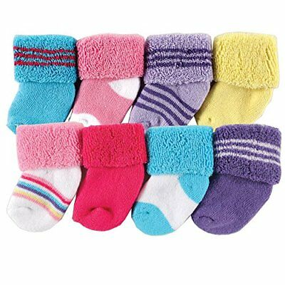 Luvable Friends Baby Infant 8 Pack Newborn Socks Pink Stripe 6-12 Months Unisex