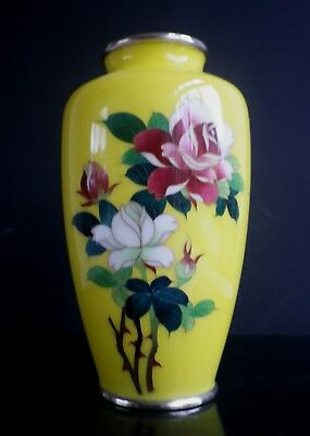 Yellow Ground Japanese Cloisonne Enamel Vase C686