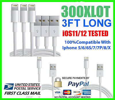 400X USB Charger Cable Cord Compatible to charge iPhone 5/6/7/8/X 3FT Wholesale