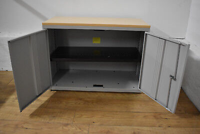 Bisley Maple/Grey Desk Height Office Storage Cabinet Adjustable Shelf 8 in Stock