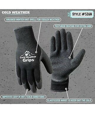 (Wells Lamont 526LN) Cold Weather Latex Work Gloves, Textured, 2-Pack, Large
