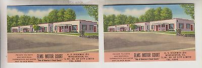 2 Vintage Business Cards - Elms Motor Court - Winchester Va