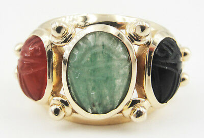 14K Yellow Gold Egyptian Scarab Ring Carved Carnelian Aventurine Onyx Size 6.75
