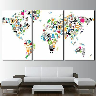 World Map Of Icons 5 Panel Canvas Print Wall Art